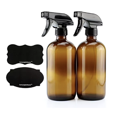 Dark glass spray bottle set